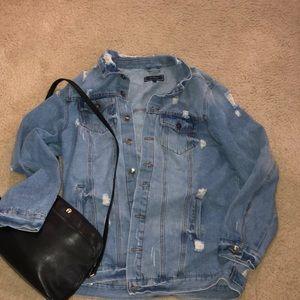 Ci Sono distressed oversized jean jacket